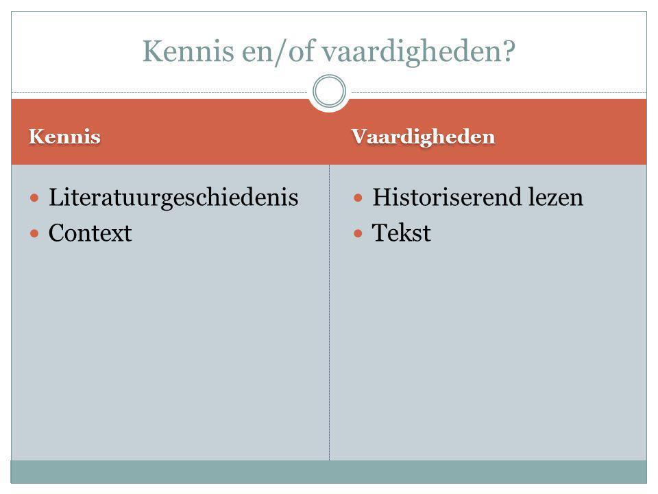Kennis Vaardigheden Literatuurgeschiedenis Context Historiserend lezen Tekst Kennis en/of vaardigheden?