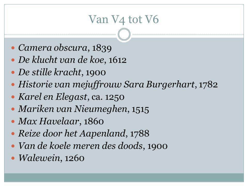 Van V4 tot V6 Camera obscura, 1839 De klucht van de koe, 1612 De stille kracht, 1900 Historie van mejuffrouw Sara Burgerhart, 1782 Karel en Elegast, ca.