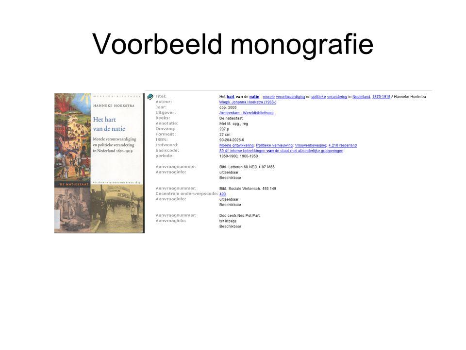 Voorbeeld monografie