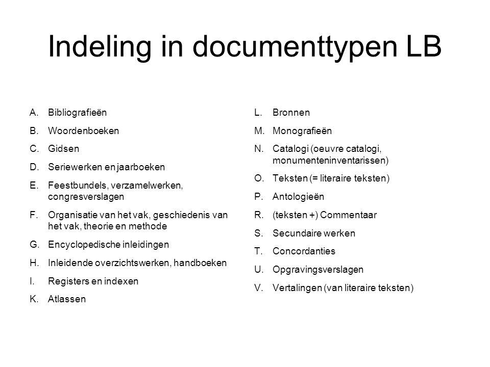 Indeling in documenttypen LB A.Bibliografieën B. Woordenboeken C.