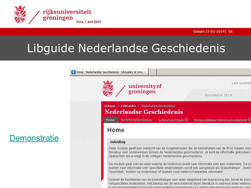 |Datum 22-01-2014 Libguide Nederlandse Geschiedenis Uitleg over Google Scholar 18 Demonstratie