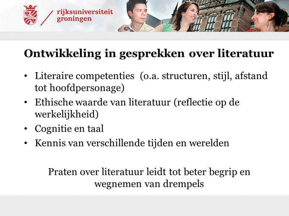 Ontwikkeling in gesprekken over literatuur Literaire competenties (o.a.
