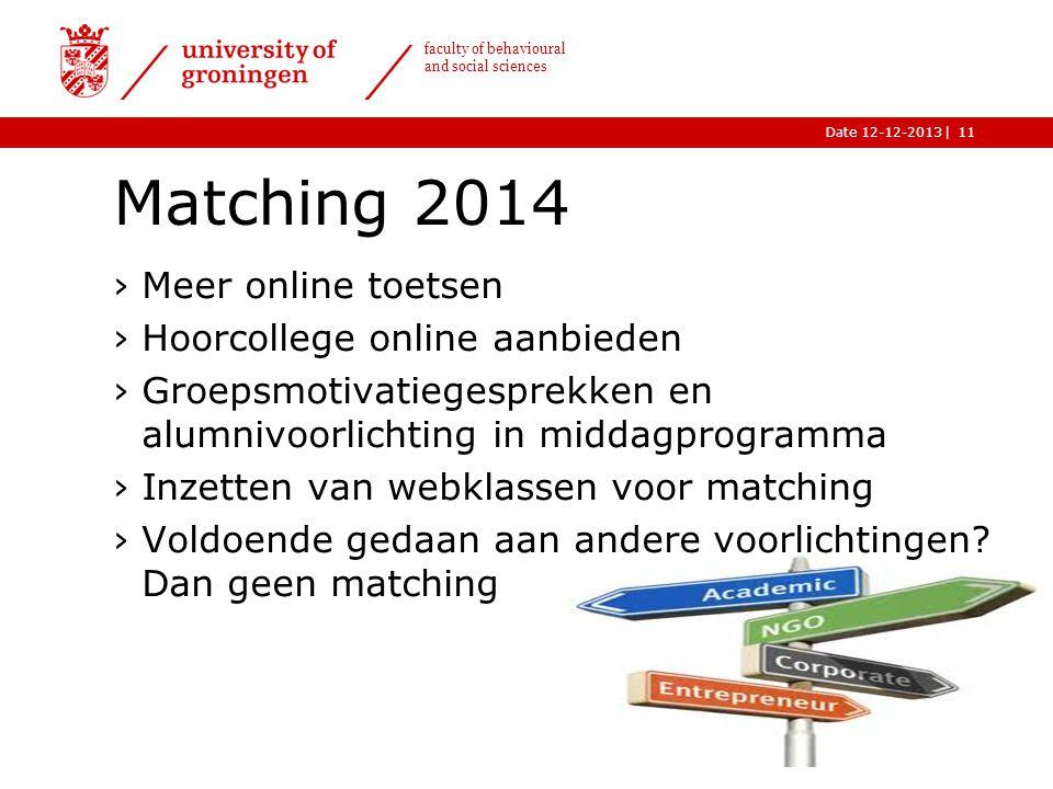 |Date 12-12-2013 faculty of behavioural and social sciences Matching 2014 ›Meer online toetsen ›Hoorcollege online aanbieden ›Groepsmotivatiegesprekke