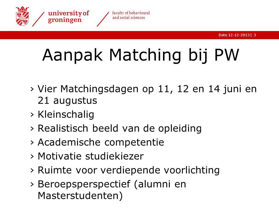 |Date 12-12-2013 faculty of behavioural and social sciences Aanpak Matching bij PW ›Vier Matchingsdagen op 11, 12 en 14 juni en 21 augustus ›Kleinscha