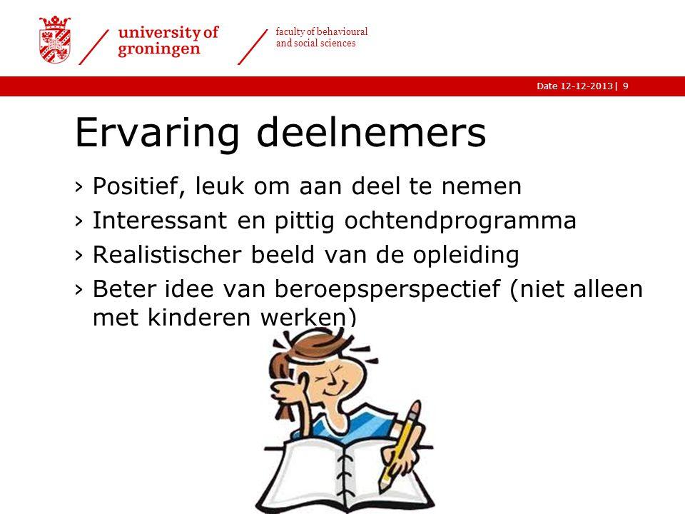 |Date 12-12-2013 faculty of behavioural and social sciences Ervaring deelnemers ›Positief, leuk om aan deel te nemen ›Interessant en pittig ochtendpro