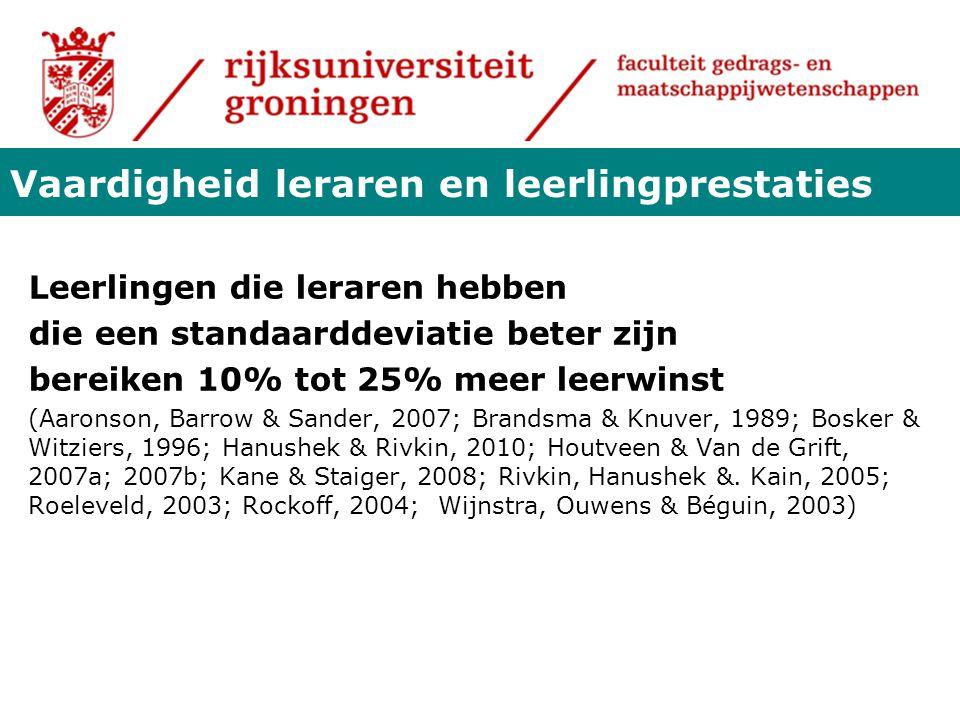 Leerlingen die leraren hebben die een standaarddeviatie beter zijn bereiken 10% tot 25% meer leerwinst (Aaronson, Barrow & Sander, 2007; Brandsma & Kn
