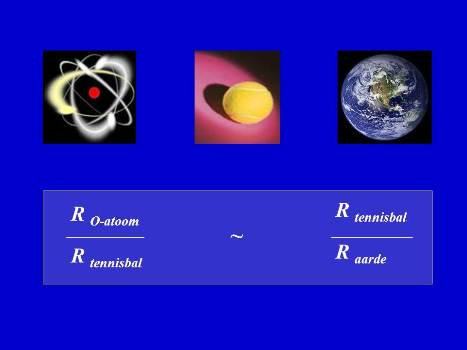R O-atoom R tennisbal R tennisbal R aarde ~