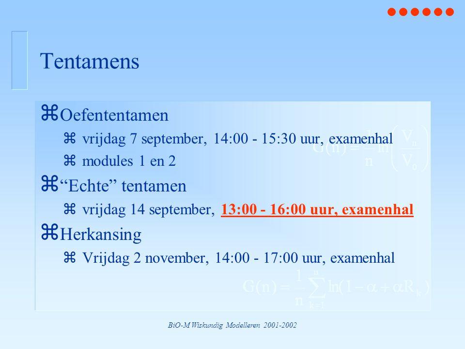 BiO-M Wiskundig Modelleren 2001-2002 Tentamens z Oefententamen zvrijdag 7 september, 14:00 - 15:30 uur, examenhal zmodules 1 en 2 z Echte tentamen zvrijdag 14 september, 13:00 - 16:00 uur, examenhal z Herkansing zVrijdag 2 november, 14:00 - 17:00 uur, examenhal