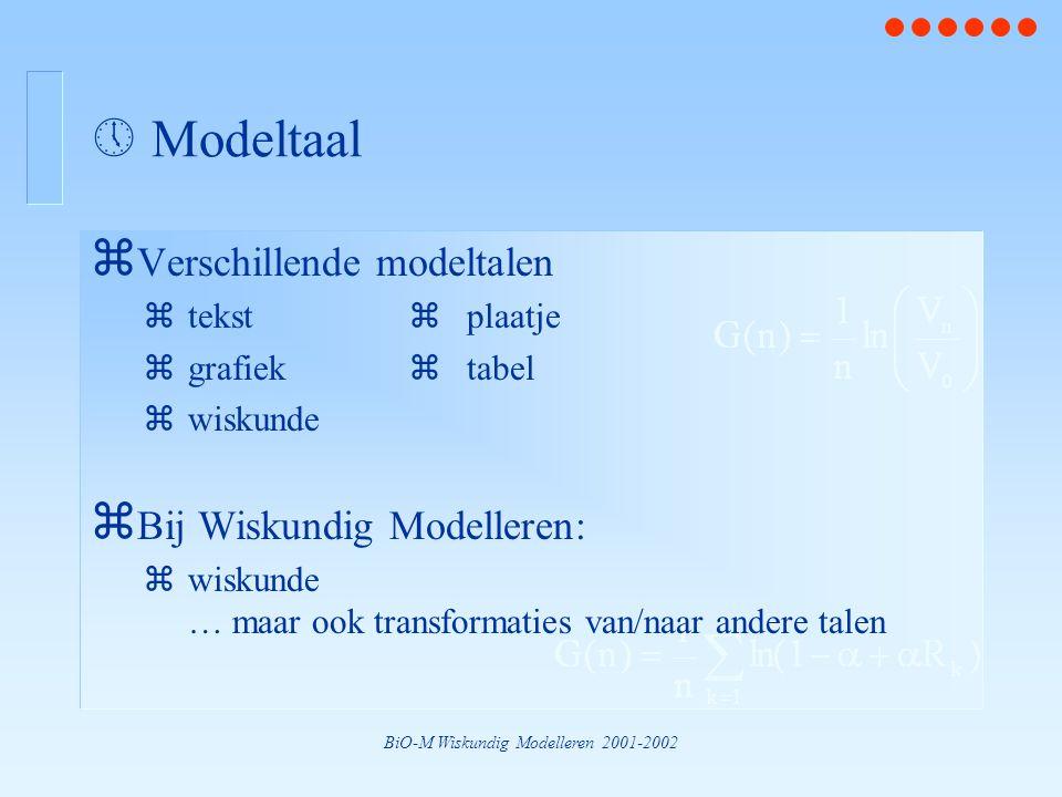 BiO-M Wiskundig Modelleren 2001-2002  Modeltaal z Verschillende modeltalen ztekst  plaatje zgrafiek  tabel zwiskunde z Bij Wiskundig Modelleren: zwiskunde … maar ook transformaties van/naar andere talen