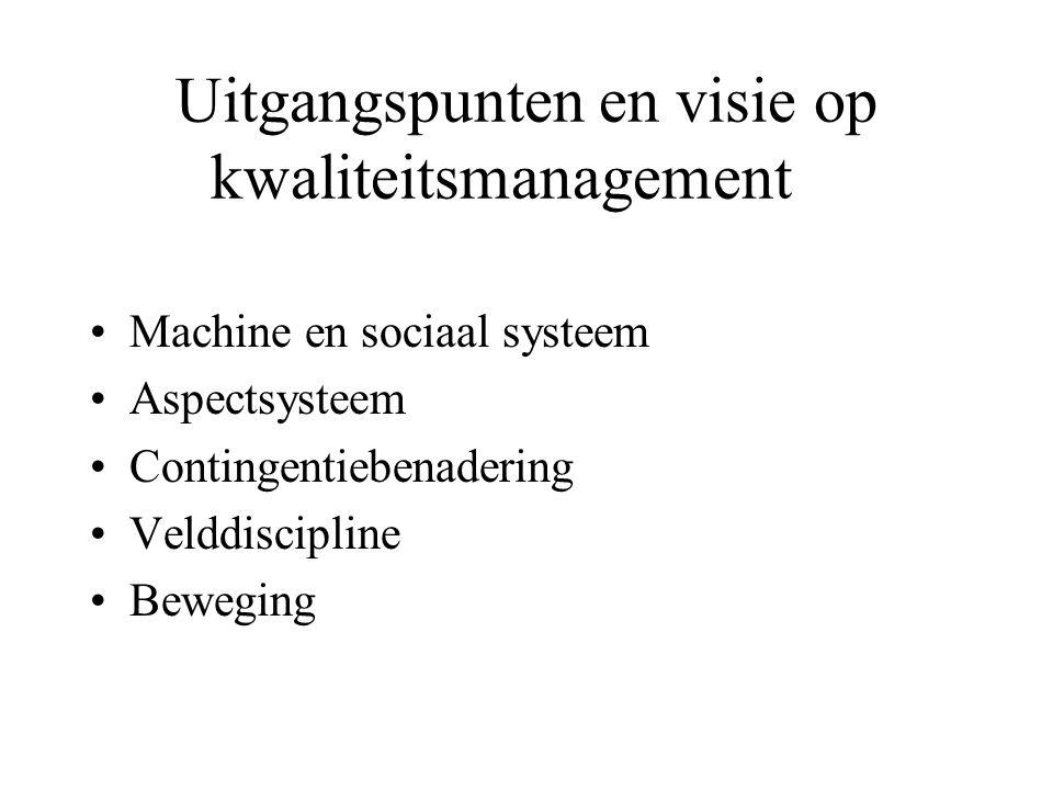 Uitgangspunten en visie op kwaliteitsmanagement Machine en sociaal systeem Aspectsysteem Contingentiebenadering Velddiscipline Beweging