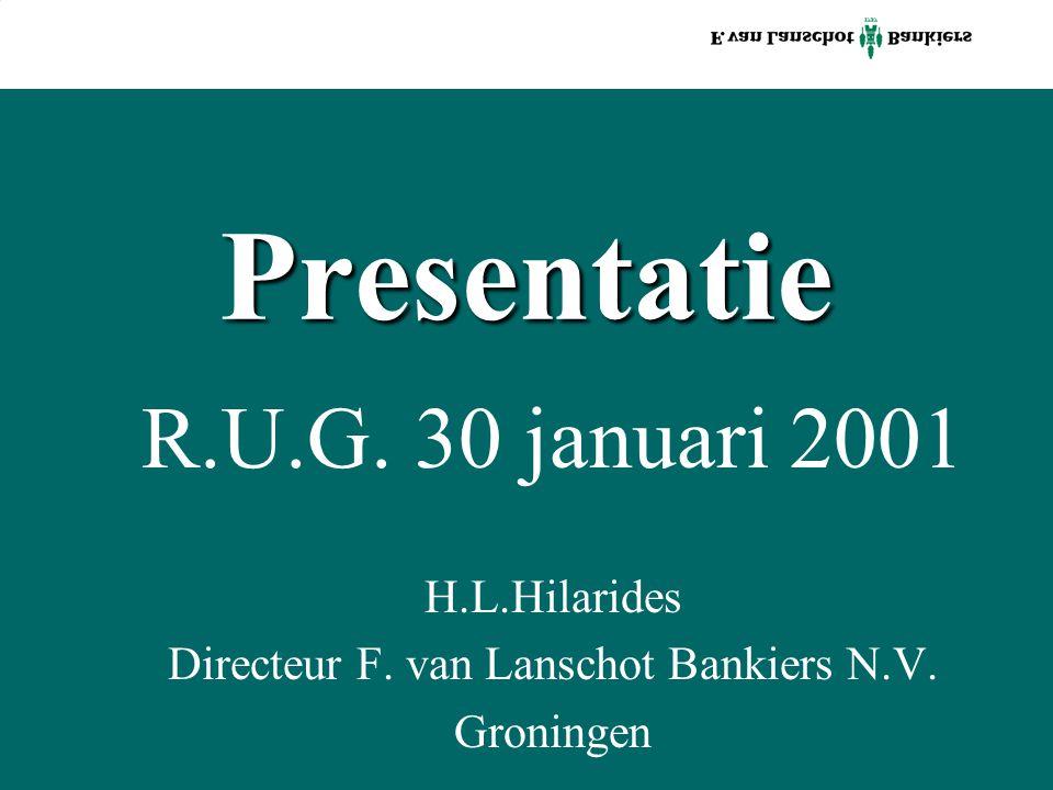 Presentatie R.U.G. 30 januari 2001 H.L.Hilarides Directeur F. van Lanschot Bankiers N.V. Groningen