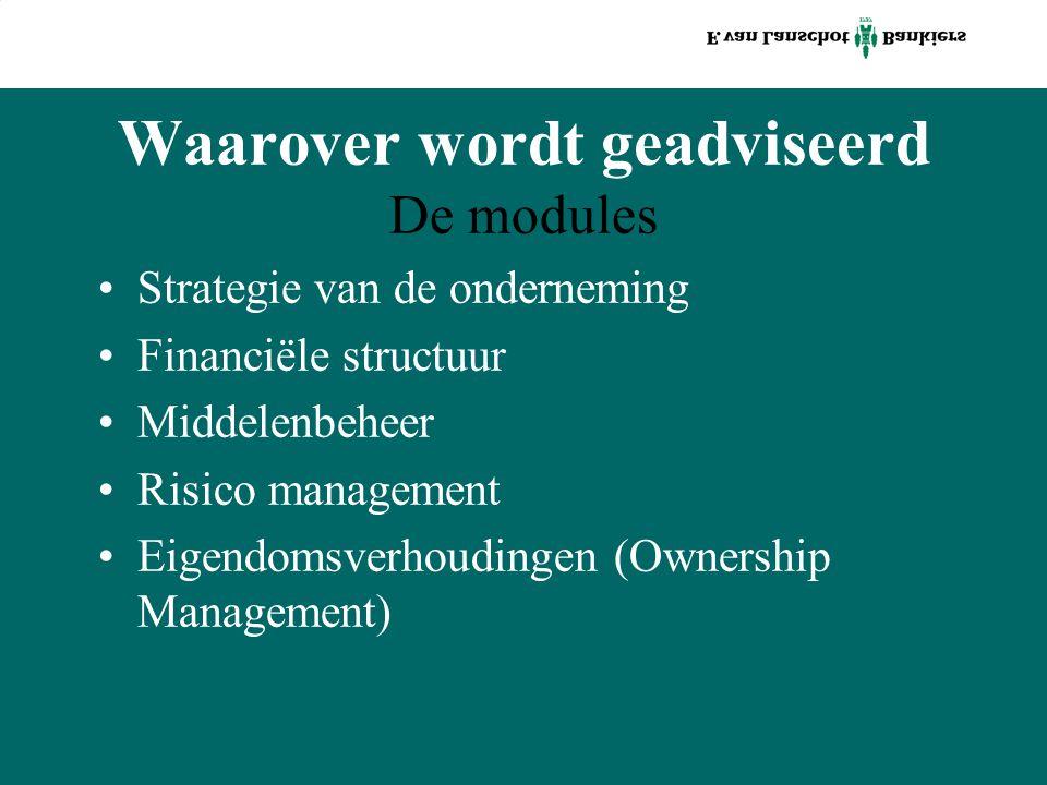 Waarover wordt geadviseerd De modules Strategie van de onderneming Financiële structuur Middelenbeheer Risico management Eigendomsverhoudingen (Ownership Management)