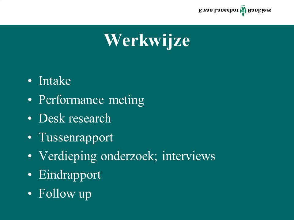 Werkwijze Intake Performance meting Desk research Tussenrapport Verdieping onderzoek; interviews Eindrapport Follow up