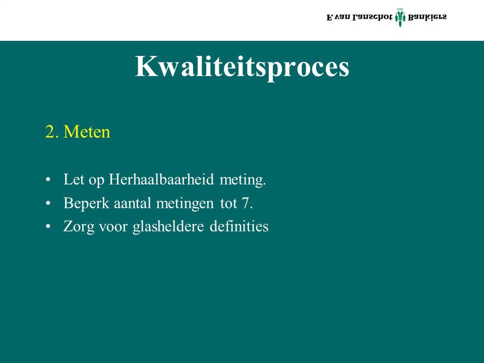Kwaliteitsproces 2.Meten Let op Herhaalbaarheid meting. Beperk aantal metingen tot 7. Zorg voor glasheldere definities