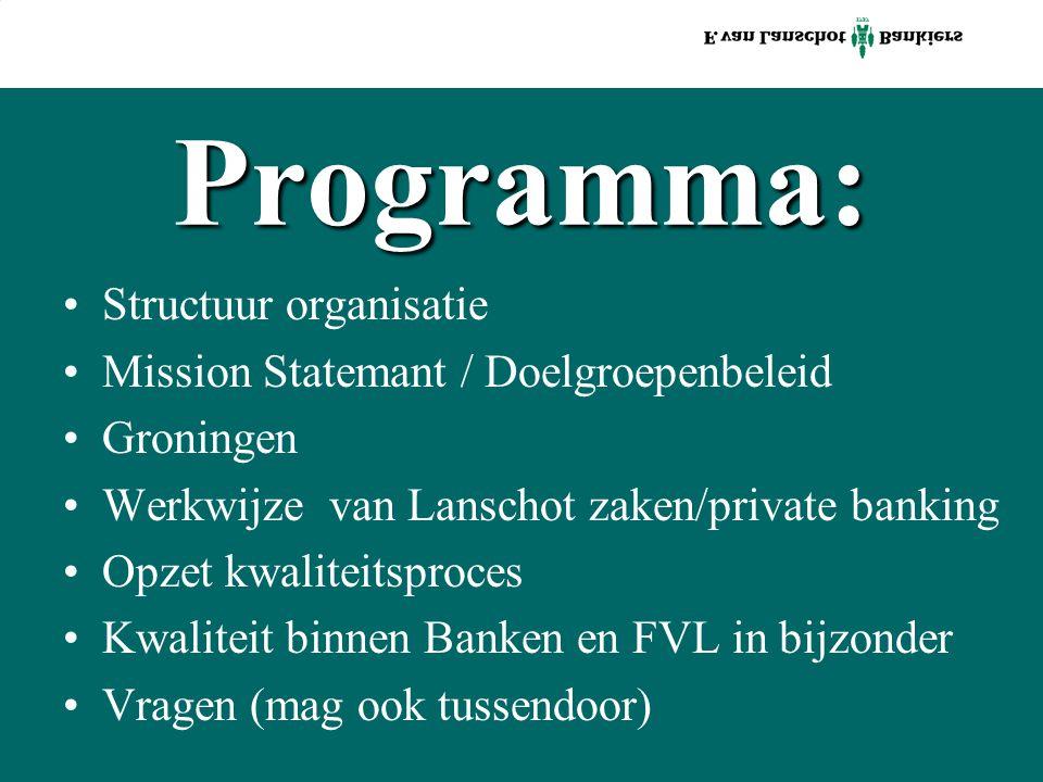 Programma: Structuur organisatie Mission Statemant / Doelgroepenbeleid Groningen Werkwijze van Lanschot zaken/private banking Opzet kwaliteitsproces Kwaliteit binnen Banken en FVL in bijzonder Vragen (mag ook tussendoor)