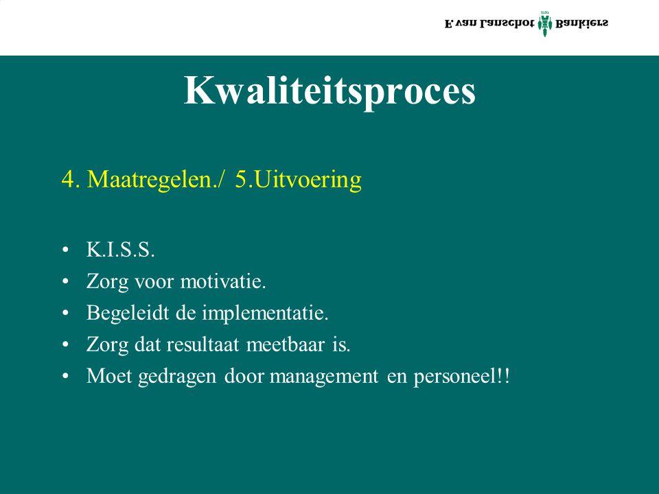 Kwaliteitsproces 4. Maatregelen./ 5.Uitvoering K.I.S.S. Zorg voor motivatie. Begeleidt de implementatie. Zorg dat resultaat meetbaar is. Moet gedragen