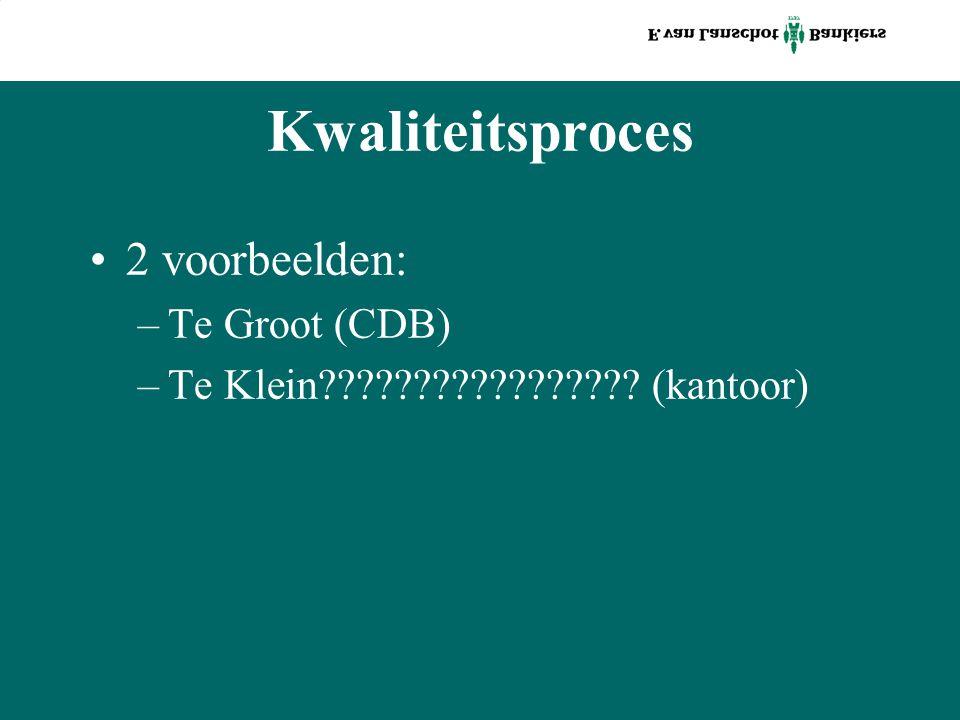 Kwaliteitsproces 2 voorbeelden: –Te Groot (CDB) –Te Klein (kantoor)
