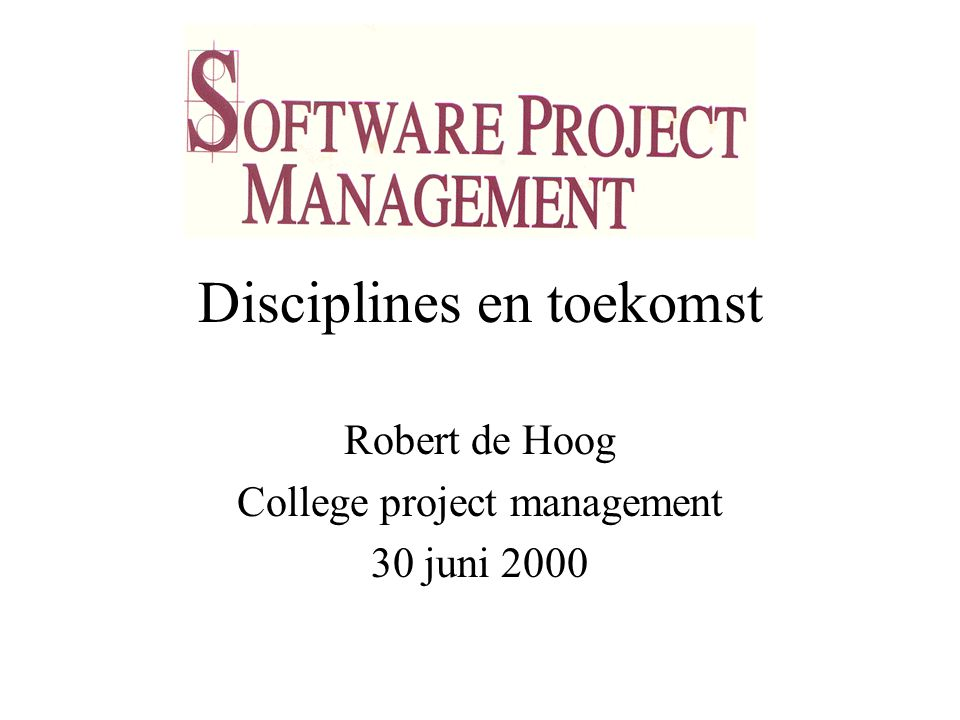 College project management 30 juni 2000 12 1b Personeel Project omgeving Projecten