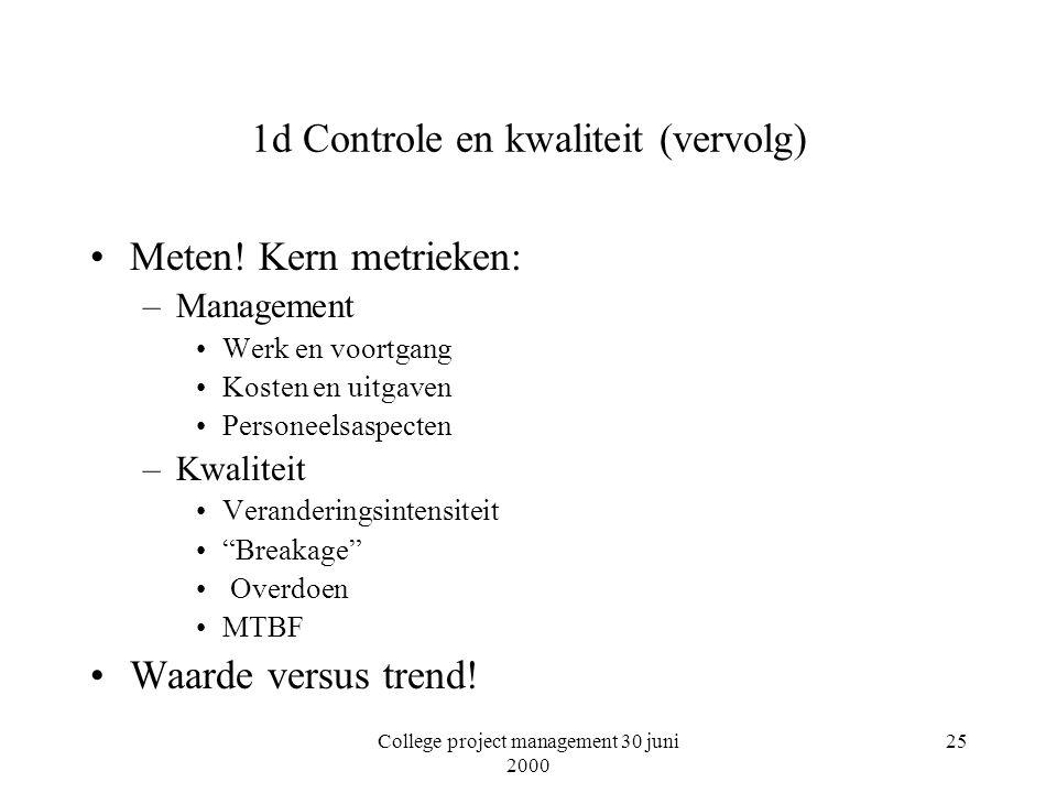 College project management 30 juni 2000 25 1d Controle en kwaliteit (vervolg) Meten.