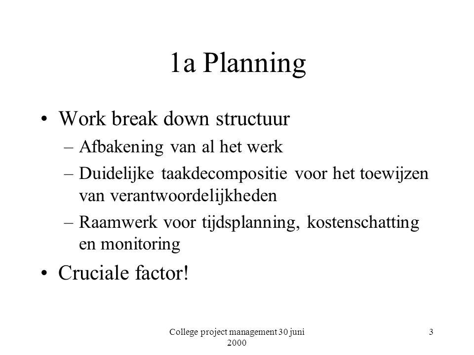 College project management 30 juni 2000 3 1a Planning Work break down structuur –Afbakening van al het werk –Duidelijke taakdecompositie voor het toewijzen van verantwoordelijkheden –Raamwerk voor tijdsplanning, kostenschatting en monitoring Cruciale factor!