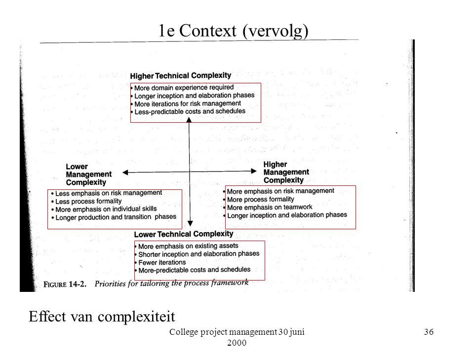 College project management 30 juni 2000 36 1e Context (vervolg) Effect van complexiteit
