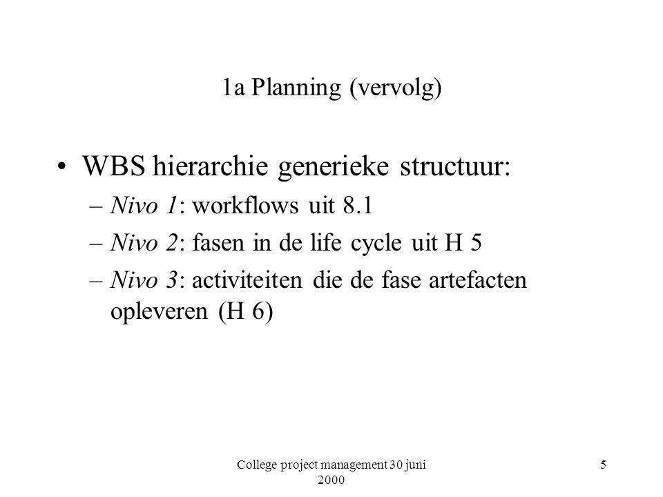 College project management 30 juni 2000 5 1a Planning (vervolg) WBS hierarchie generieke structuur: –Nivo 1: workflows uit 8.1 –Nivo 2: fasen in de life cycle uit H 5 –Nivo 3: activiteiten die de fase artefacten opleveren (H 6)
