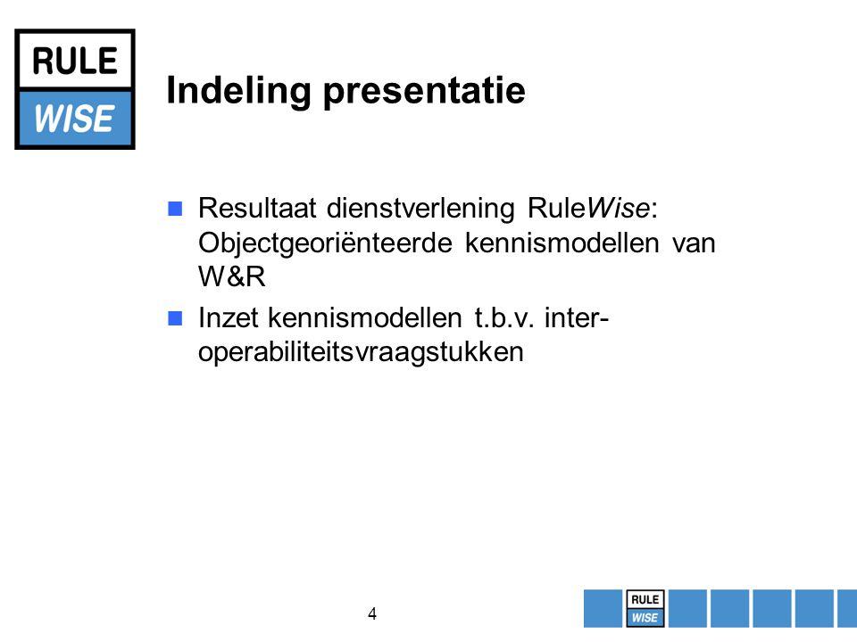 4 Indeling presentatie Resultaat dienstverlening RuleWise: Objectgeoriënteerde kennismodellen van W&R Inzet kennismodellen t.b.v.