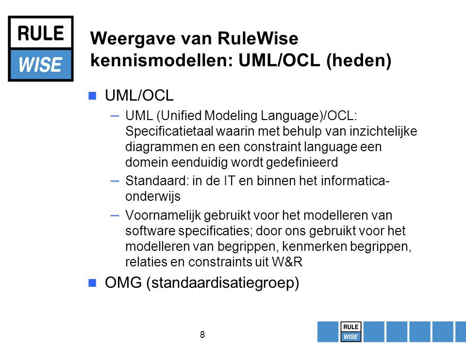 8 Weergave van RuleWise kennismodellen: UML/OCL (heden) UML/OCL – UML (Unified Modeling Language)/OCL: Specificatietaal waarin met behulp van inzichtelijke diagrammen en een constraint language een domein eenduidig wordt gedefinieerd – Standaard: in de IT en binnen het informatica- onderwijs – Voornamelijk gebruikt voor het modelleren van software specificaties; door ons gebruikt voor het modelleren van begrippen, kenmerken begrippen, relaties en constraints uit W&R OMG (standaardisatiegroep)