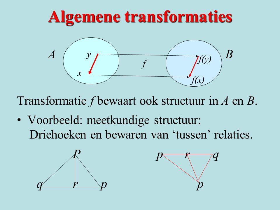 Algemene transformaties A B Transformatie f bewaart ook structuur in A en B. Voorbeeld: meetkundige structuur: Driehoeken en bewaren van 'tussen' rela