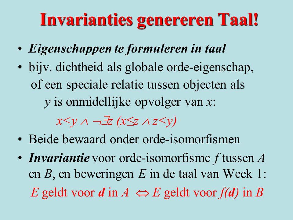 Invarianties genereren Taal. Eigenschappen te formuleren in taal bijv.