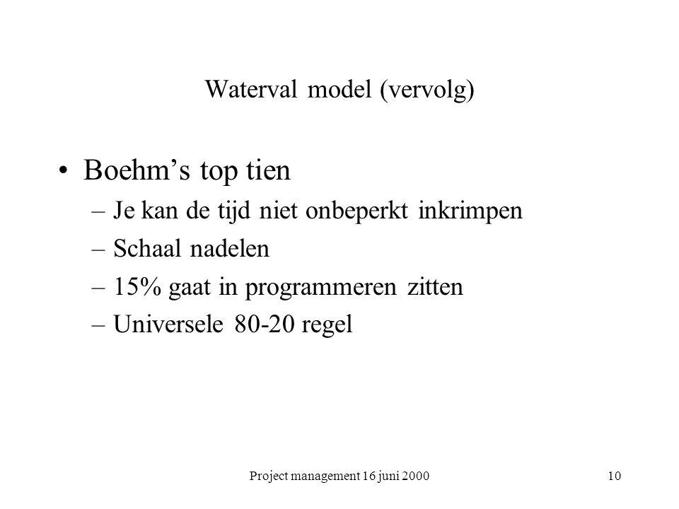 Project management 16 juni 200010 Waterval model (vervolg) Boehm's top tien –Je kan de tijd niet onbeperkt inkrimpen –Schaal nadelen –15% gaat in prog