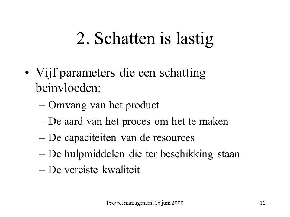 Project management 16 juni 200011 2. Schatten is lastig Vijf parameters die een schatting beinvloeden: –Omvang van het product –De aard van het proces