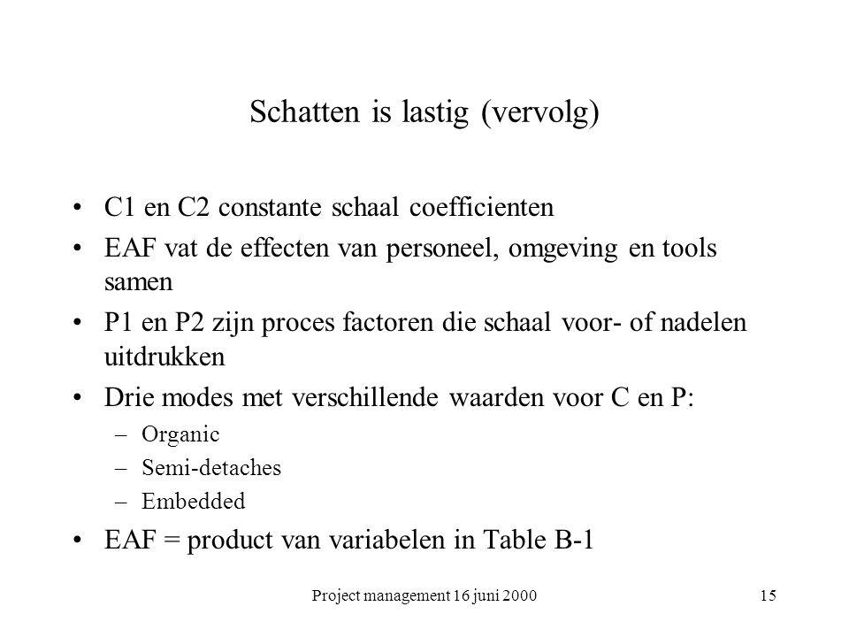 Project management 16 juni 200015 Schatten is lastig (vervolg) C1 en C2 constante schaal coefficienten EAF vat de effecten van personeel, omgeving en