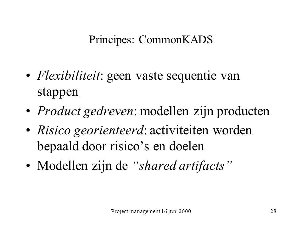 Project management 16 juni 200028 Principes: CommonKADS Flexibiliteit: geen vaste sequentie van stappen Product gedreven: modellen zijn producten Risi