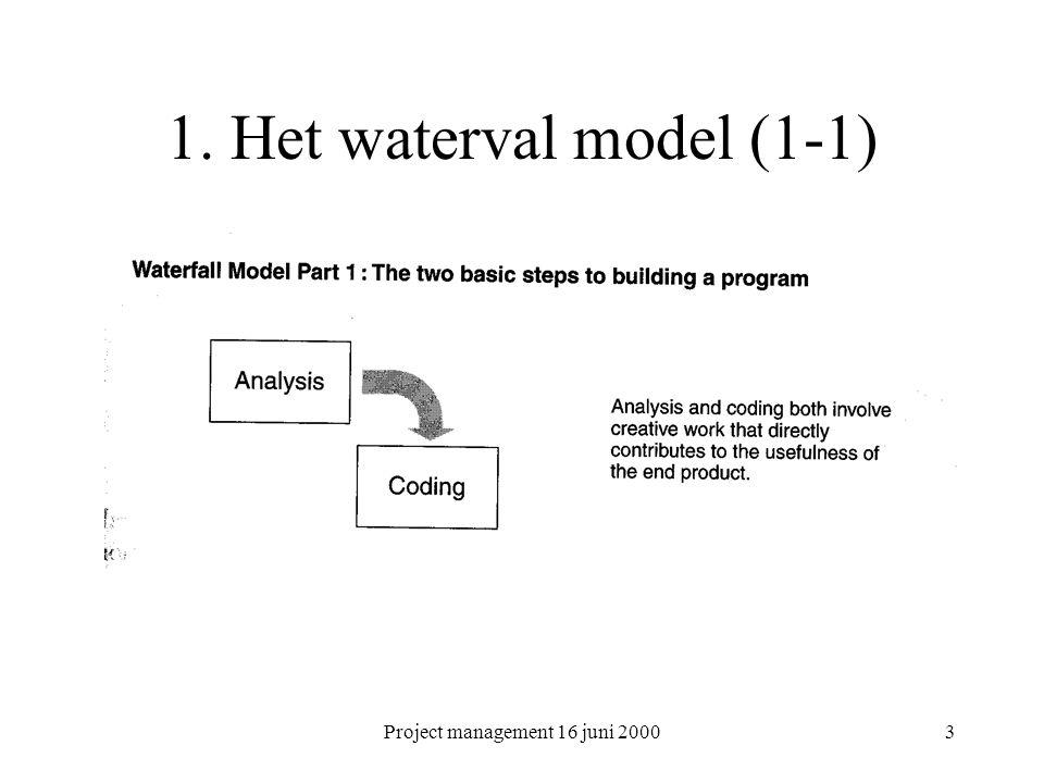 Project management 16 juni 20004 Waterval model (vervolg) (1-2)