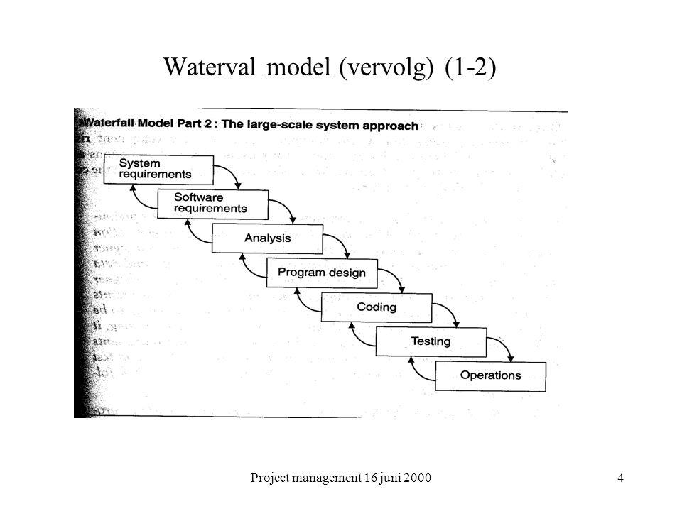 Project management 16 juni 20005 Waterval model (vervolg) Aantal principes nog steeds geldig: –Programma ontwerp –Documentatie –Doe het 2x –Controleer testen –Betrek de klant