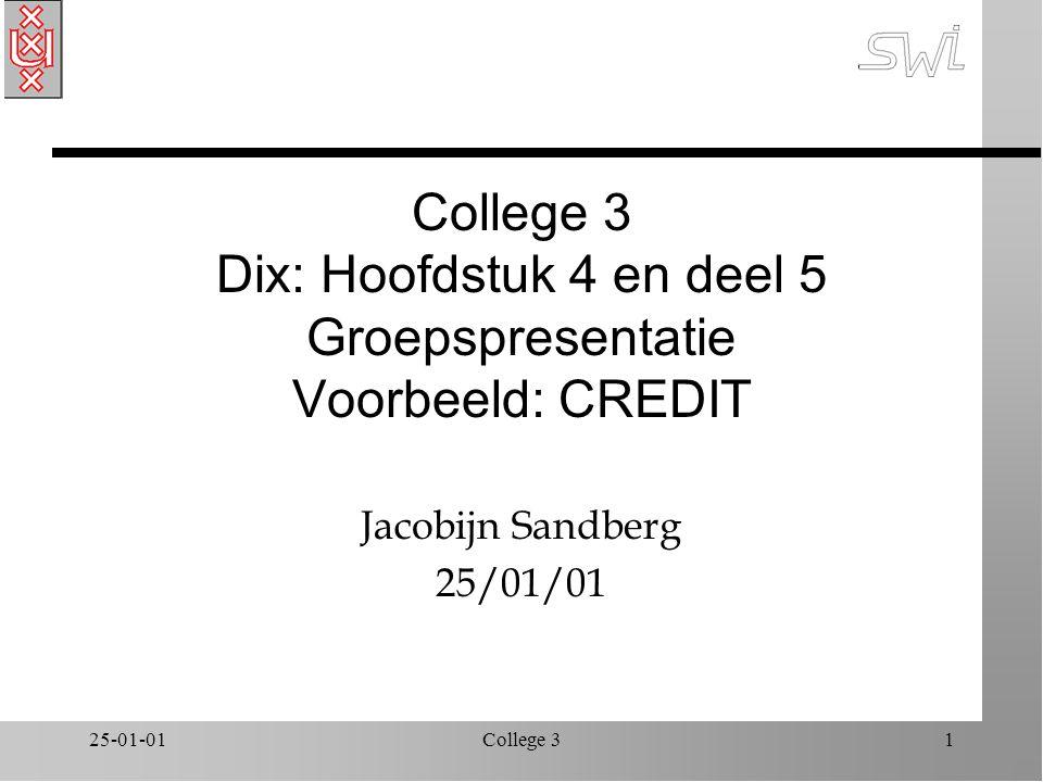 25-01-01College 31 College 3 Dix: Hoofdstuk 4 en deel 5 Groepspresentatie Voorbeeld: CREDIT Jacobijn Sandberg 25/01/01