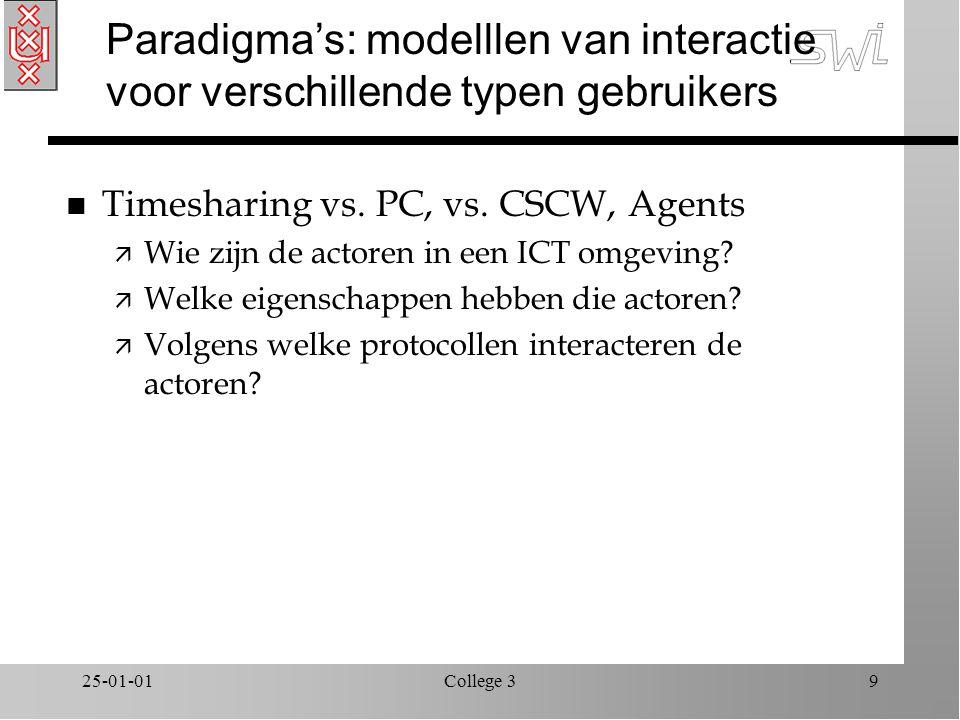 25-01-01College 39 Paradigma's: modelllen van interactie voor verschillende typen gebruikers n Timesharing vs.
