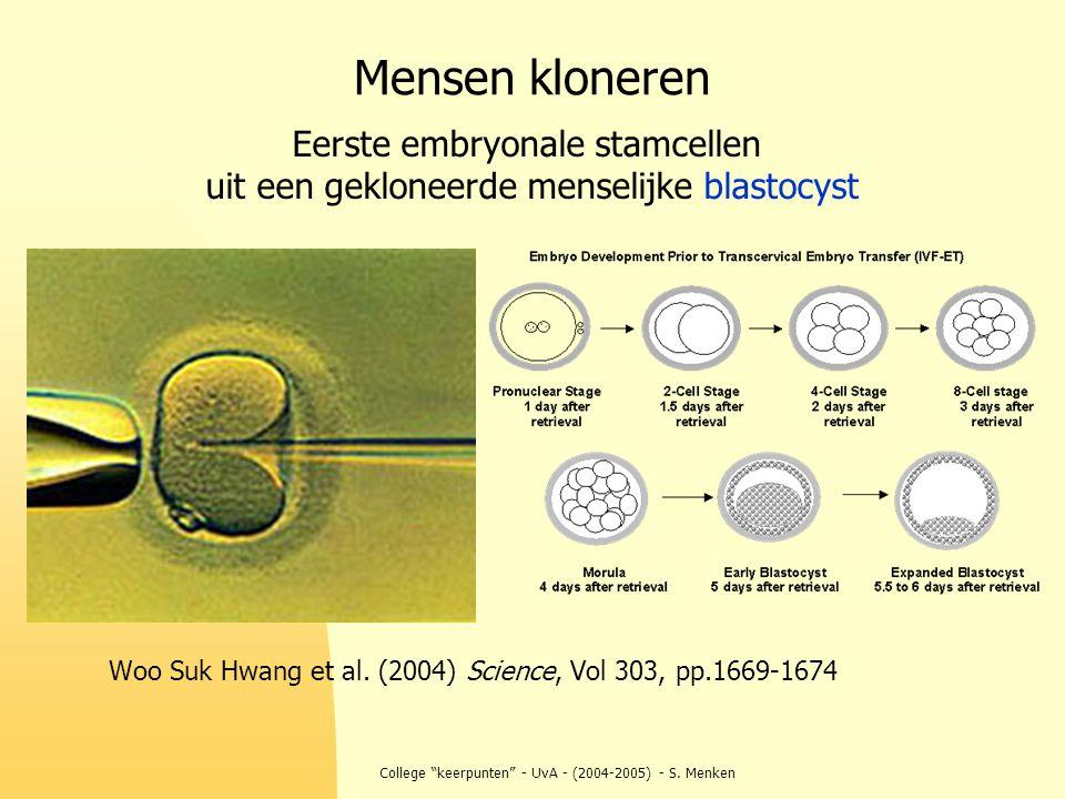 """College """"keerpunten"""" - UvA - (2004-2005) - S. Menken Mensen kloneren Woo Suk Hwang et al. (2004) Science, Vol 303, pp.1669-1674 Eerste embryonale stam"""