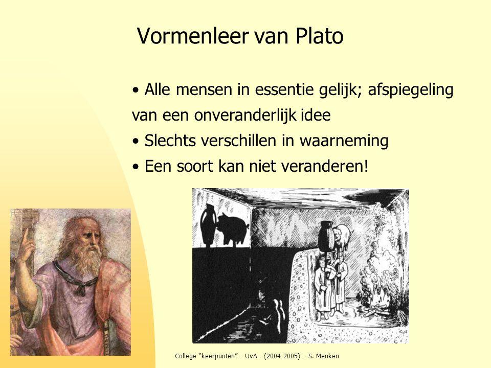 """College """"keerpunten"""" - UvA - (2004-2005) - S. Menken Vormenleer van Plato Alle mensen in essentie gelijk; afspiegeling van een onveranderlijk idee Sle"""