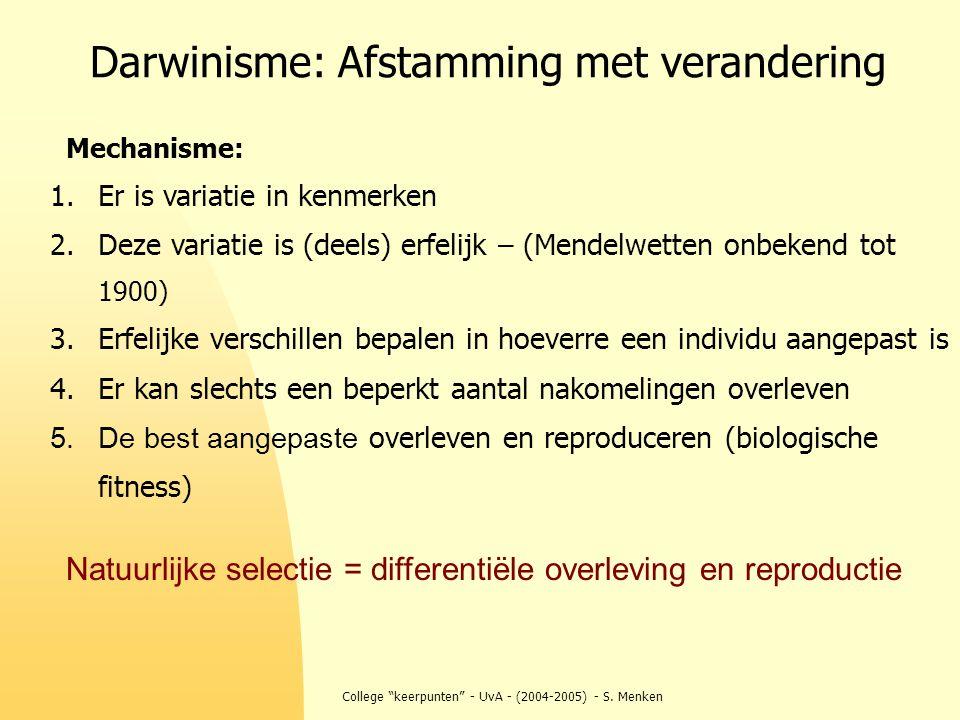 """College """"keerpunten"""" - UvA - (2004-2005) - S. Menken Darwinisme: Afstamming met verandering 1.Er is variatie in kenmerken 2.Deze variatie is (deels) e"""