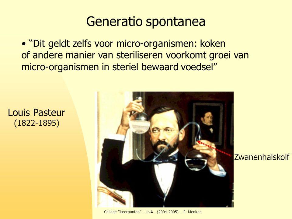 """College """"keerpunten"""" - UvA - (2004-2005) - S. Menken Generatio spontanea Louis Pasteur (1822-1895) Zwanenhalskolf """"Dit geldt zelfs voor micro-organism"""