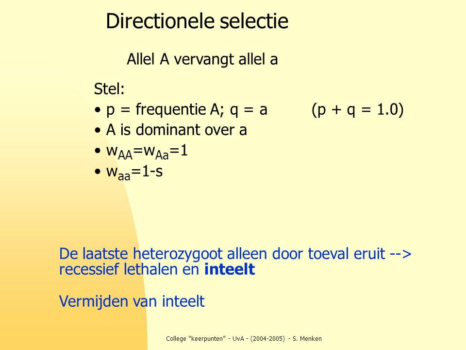 "College ""keerpunten"" - UvA - (2004-2005) - S. Menken Directionele selectie Allel A vervangt allel a Stel: p = frequentie A; q = a (p + q = 1.0) A is d"