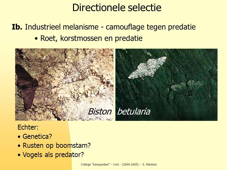 """College """"keerpunten"""" - UvA - (2004-2005) - S. Menken Directionele selectie Ib. Industrieel melanisme - camouflage tegen predatie Echter: Genetica? Rus"""