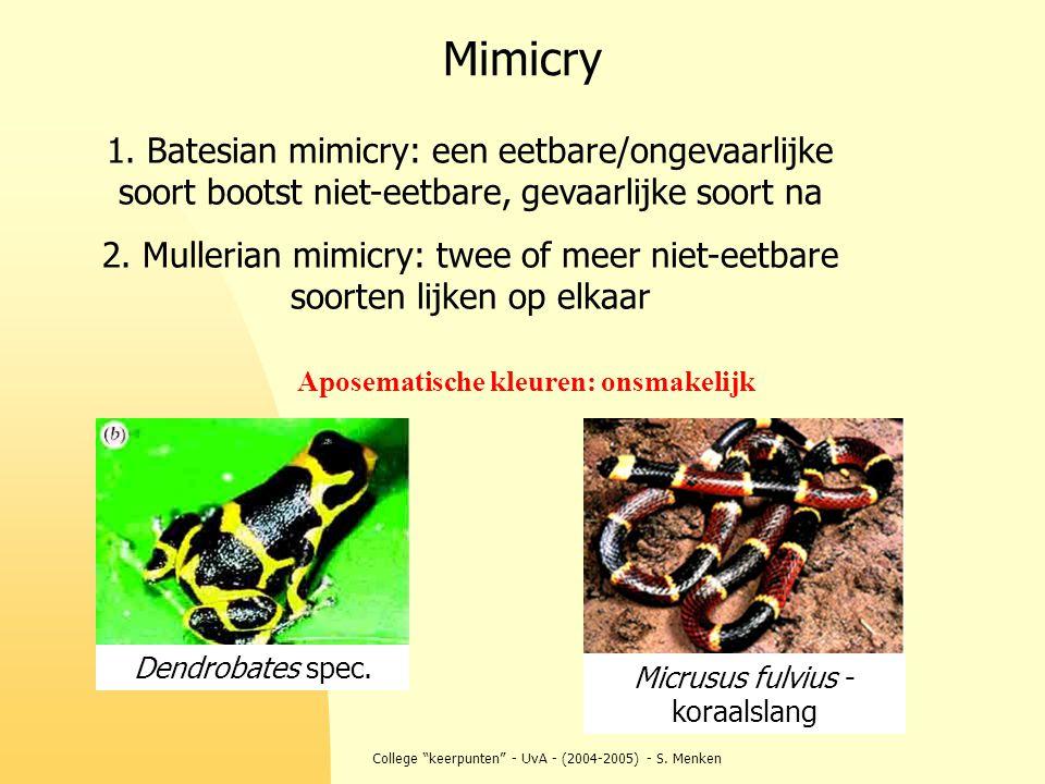 """College """"keerpunten"""" - UvA - (2004-2005) - S. Menken Mimicry 1. Batesian mimicry: een eetbare/ongevaarlijke soort bootst niet-eetbare, gevaarlijke soo"""