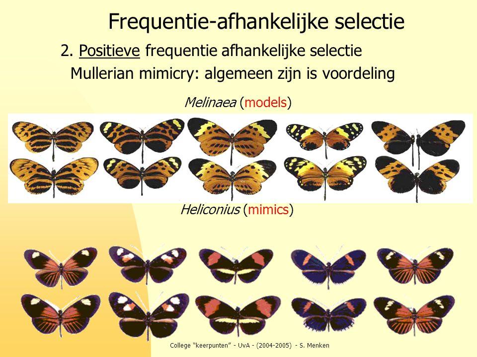 """College """"keerpunten"""" - UvA - (2004-2005) - S. Menken Frequentie-afhankelijke selectie 2. Positieve frequentie afhankelijke selectie Mullerian mimicry:"""