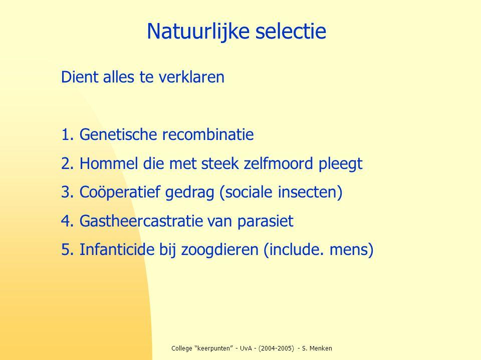 """College """"keerpunten"""" - UvA - (2004-2005) - S. Menken Natuurlijke selectie Dient alles te verklaren 1. Genetische recombinatie 2. Hommel die met steek"""