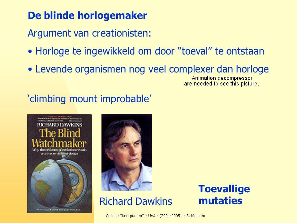"""College """"keerpunten"""" - UvA - (2004-2005) - S. Menken De blinde horlogemaker Argument van creationisten: Horloge te ingewikkeld om door """"toeval"""" te ont"""