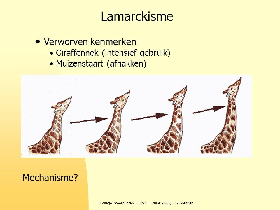 """College """"keerpunten"""" - UvA - (2004-2005) - S. Menken Verworven kenmerken Giraffennek (intensief gebruik) Muizenstaart (afhakken) Lamarckisme Mechanism"""