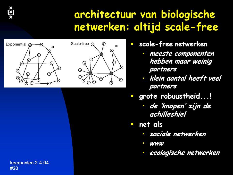 keerpunten-2 4-04 #21 heel veel reacties hangen met elkaar samen  netwerken van samenwerkende componenten in de cel eiwitten en enzymen genen  speciale systeem- eigenschappen geselecteerd tijdens evolutie robuustheid efficientie aanpassen aan omgeving  regulatie van systemen  'leven' een netwerk van chemische en fysische netwerken dit is nog maar een heel klein deel van het totale netwerk